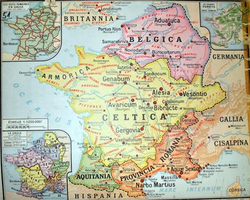 Mapa de las tres Galias, historia de Francia
